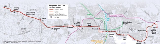 Baltimore Red Line Route Map
