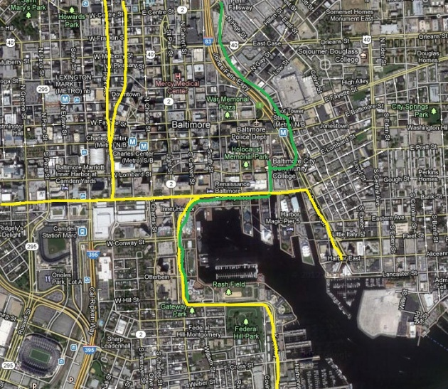 Proposed core cycletrack network (yellow) Approximate Jones Falls Trail (green)