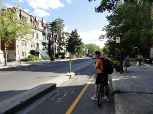 Author on Bixi and Montreal Cycle track