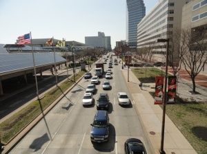Cycle tracks should be designed within the Pratt Street corridor