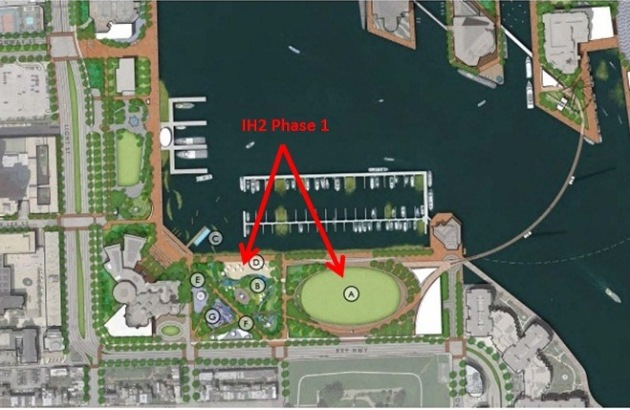 IH2 Phase I will trade Baltimore Beach Volleyball for a $40 million parking garage and what is depicted in the rendering