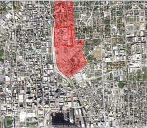 The penal campus is in the red box.  The shaded area is the impact area of the prison.  Mt. Vernon is directly west.  Johns Hopkins Medical campus is to the east. Downtown and the Inner Harbor are to the south