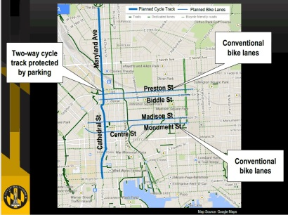 The proposed Downtown Bicycle Network. Image from Baltimore DOT