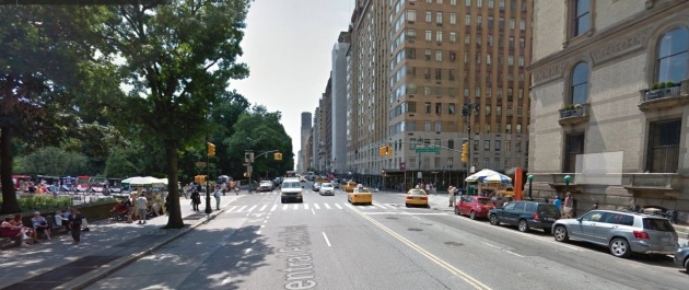 The borders of Central Park are clearly defined. Pedestrians easily cross into it and there is food available on three corners.