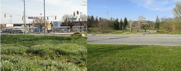 In Baltimore, lots of open space exists between the Mondawmin Station entrance (left) and the hidden (Baltimore) zoo entrance (right). All photos by author.