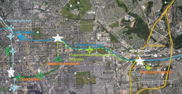 Extending the Green Line Metro along the existing MARC right-of-way east would enable a new hub connecting the subway with MARC, Interstate 95, Bayview Hospital, and a park and ride for many in eastern Baltimore