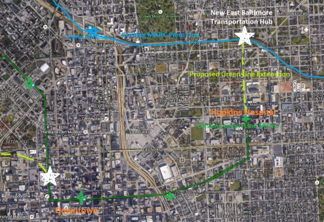 A short Metro Green Line extension to the north could give East Baltimore a badly needed transportation hub