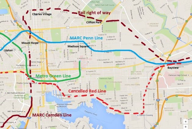 Baltimore's existing heavy rail lines, along with potential MARC stops and the now cancelled Red Line route. The 2007 Plan also discusses possibilities for expanding the Camden Line. Base image from Google Maps.