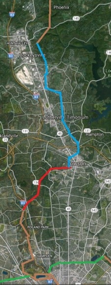 Project 3 (Blue), Project 5 (Red), Existing trails (Brown)