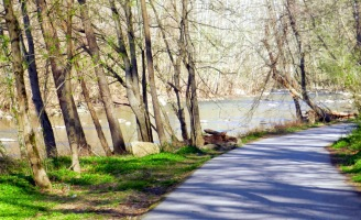 The 2.5 mile Grist Mill Trail along the Patapsco River